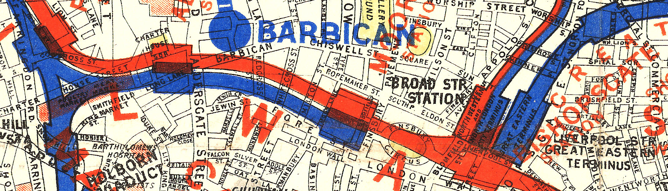 fragment of 1885 London map