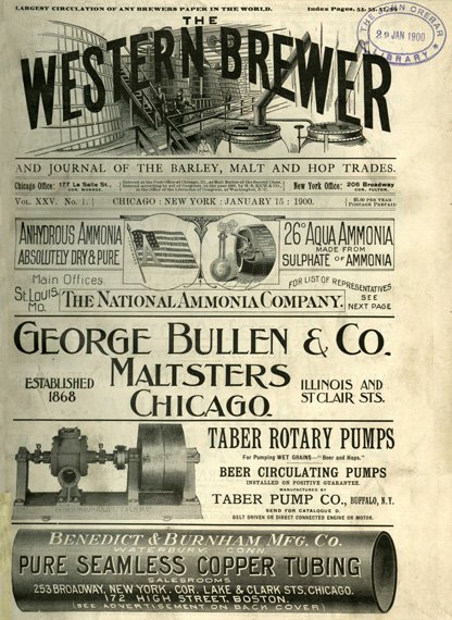 An old newspaper cover, primarily showing advertisements for bottling services, etc.