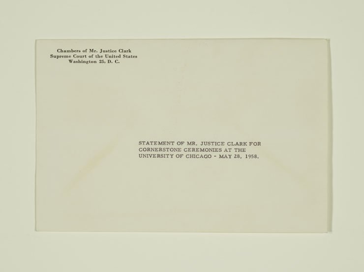 Envelope with return address from the Chambers of  Mr. Justice Clark