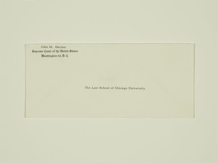 Envelope addressed to the Law School of Chicago University from the office of the Supreme Court of the United States