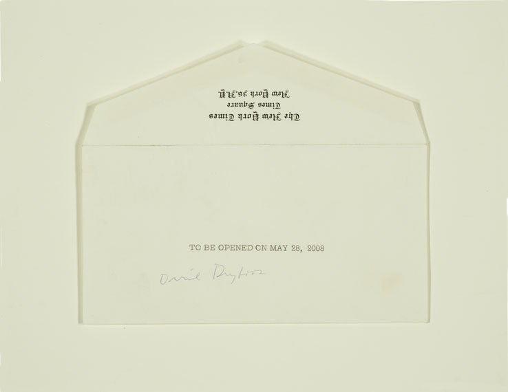 "Envelope that has ""To Be Opened on May 28, 2008"" typed on the front"