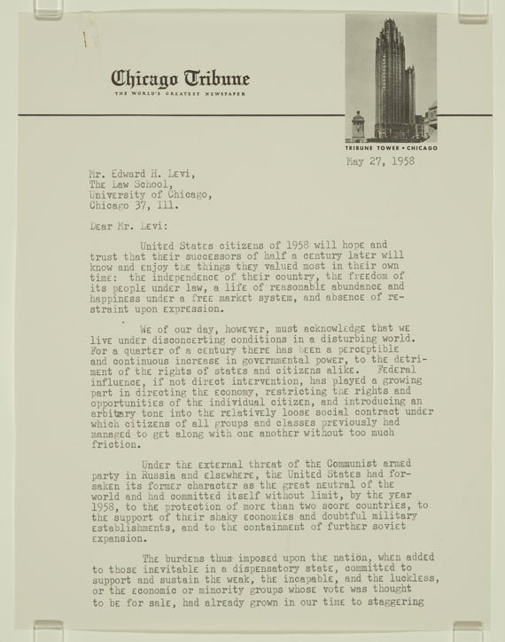 Typed letter on Chicago Tribune letterhead, which includes a photo of the Tribune Tower