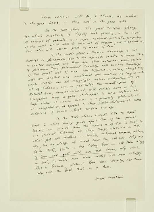 Handwritten letter, with the text on an angle