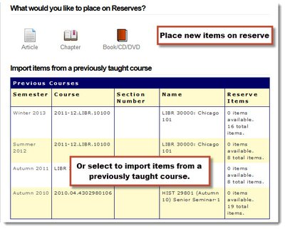 "Screenshot of the Add Reserve Items menu in Library Reserves. The bottom half shows ""Import items from a previously taught course"" and lists details of courses from past quarters."