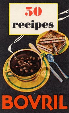 A book cover with the illustration of a sandwich next to a steaming bowl of soup.
