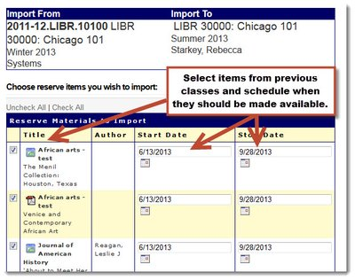 "Screenshot of the ""Import"" tool in the Library Reserves software, noting the boxes for select item and availability start/stop dates."