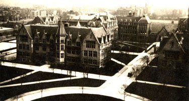 Aerial View of Kent and Hull Court in 1900