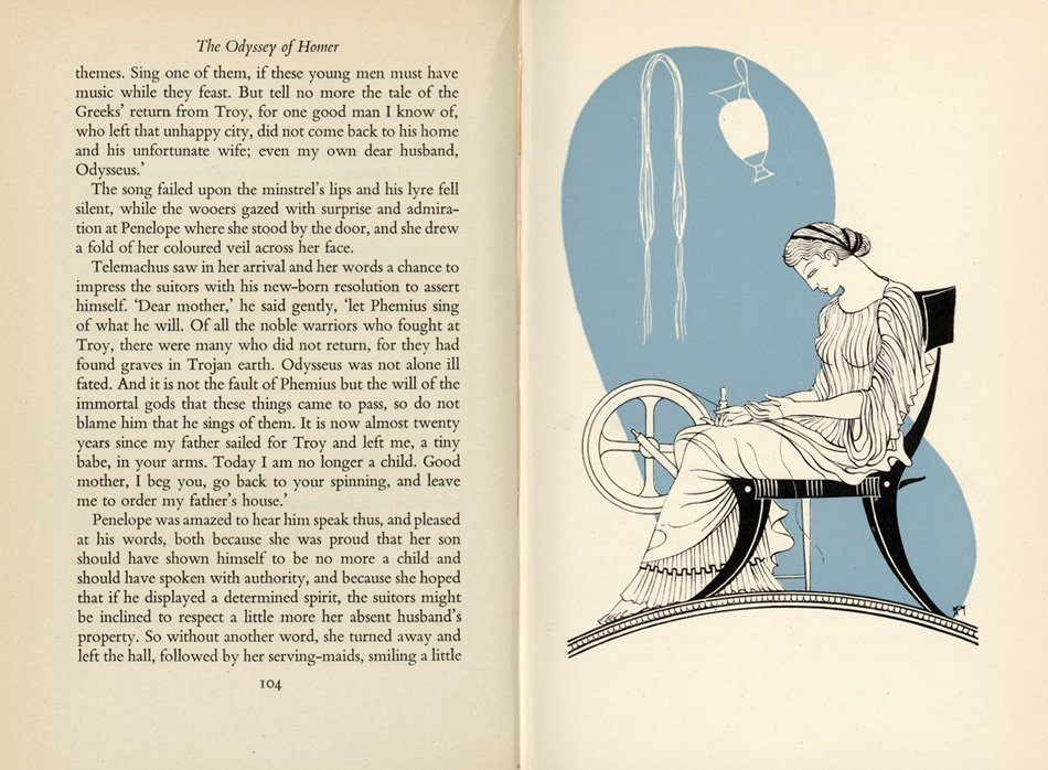 Page spread with illustration from The Odyssey of Homer Retold. . . .