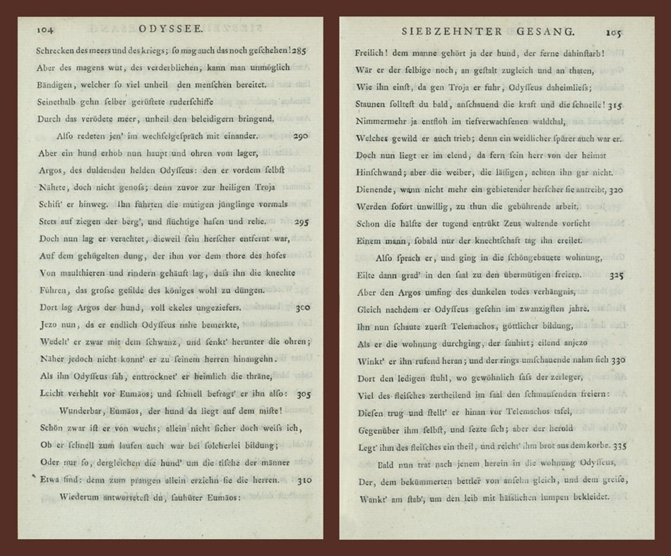Page spread from Voss's German translation