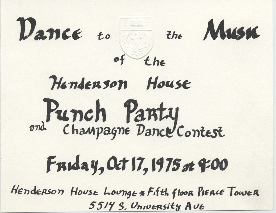"Handwritten invitation for a ""Punch Party and Champagne Dance Contest"""