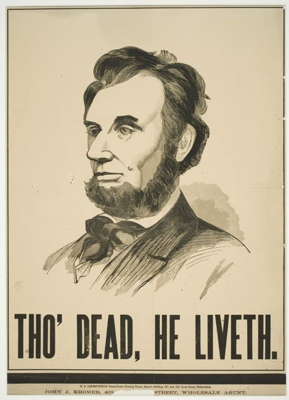 "An etching of Abraham Lincoln's bust, above the words ""Tho' Dead, He Liveth."""