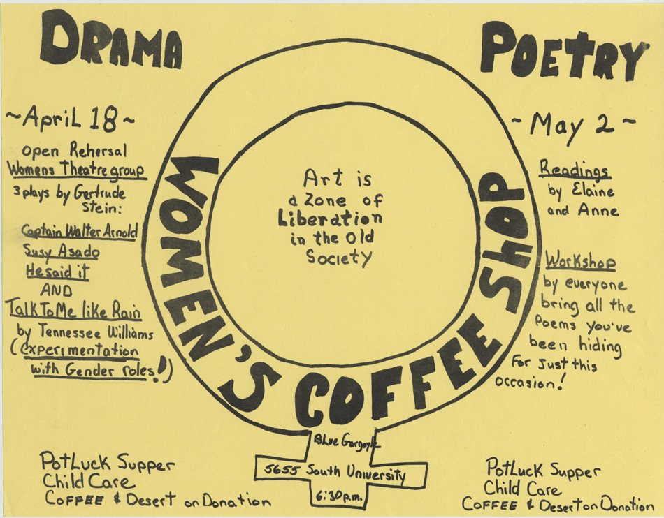 Hand drawn poster for the Women's Coffee shop, advertising Drama and poetry.