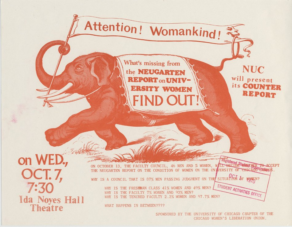 "Poster with a running elephant asking women to find out ""What's missing from the Neugarten Report"""