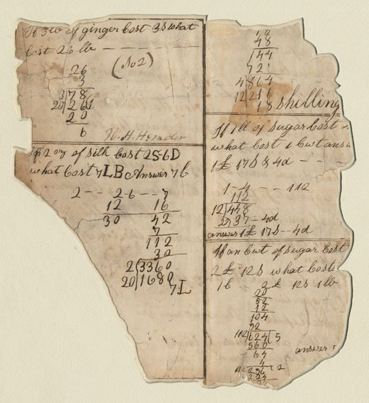 A yellowed sheet of paper with scrawls and sums.