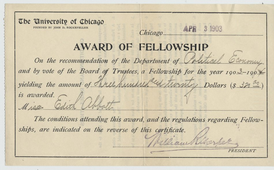 Certificate for a $320 fellowship to Edith Abbott