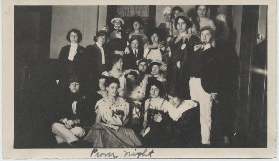 Group of women in either fancy dress or varied costumes