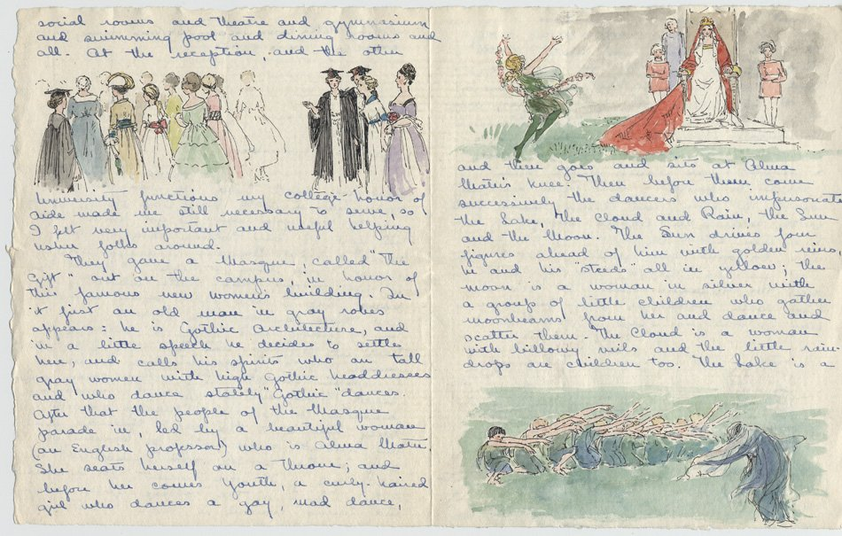 Letter with drawing of ceremonies, including dancing