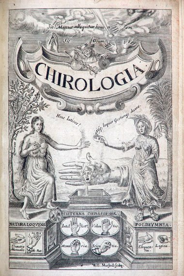 Illustrated title page for a handbook about the hand itself