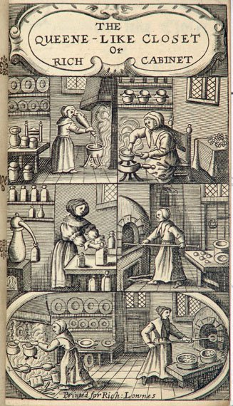 Illustrated cover for Hannah Woolley's cookbook showing kitchen scenes