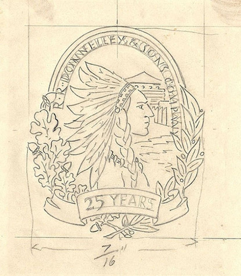 "Drawing of Native American with headdress and a banner that says ""25 Years"""