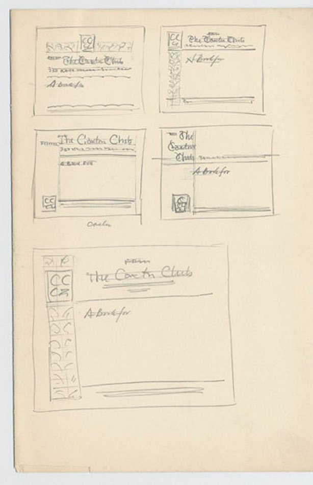 Five drawings showing a variation of a strong design on the left side of the mailing label