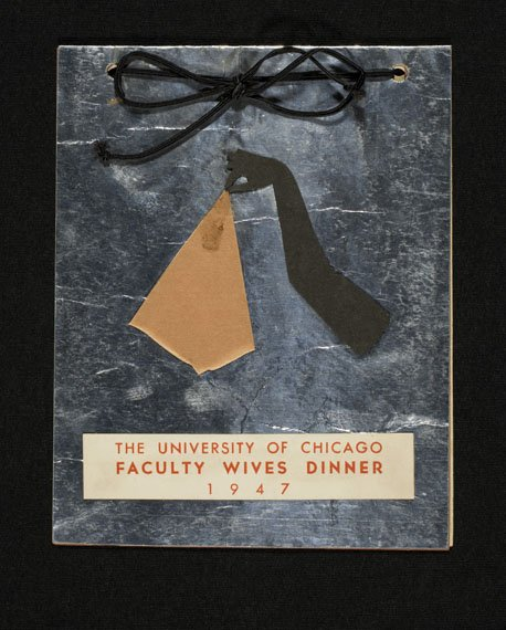 Invitation with a hand-cut design of a hand holding a handkerchief
