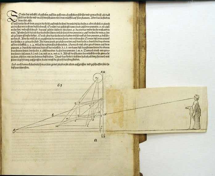 Fold out panel in a Durer book.