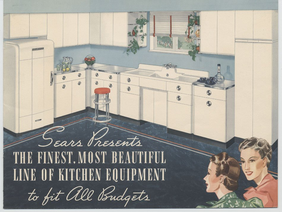 Illustration of two women overlooking a modern kitchen, for the 1940s.