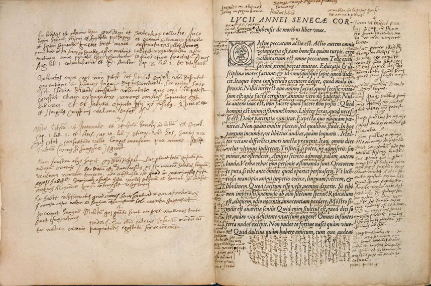 Annotated pages from Annei Senecae Corvbensis De Moribvs Liber Vnus
