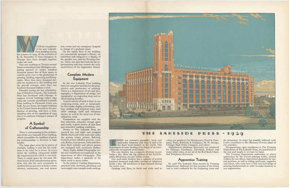 "Full page magazine spread showing an illustration of the building with the headline ""The Lakeside Press - 1929"""