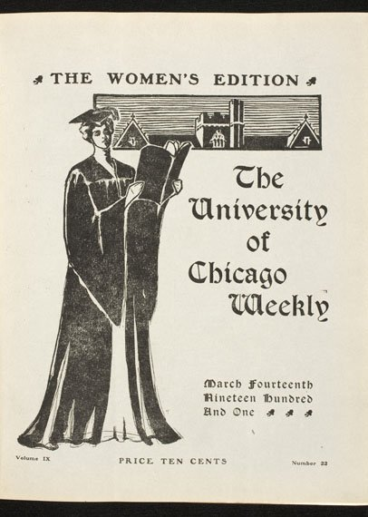 Cover of magazine with illustration of woman in academic dress reading a book.