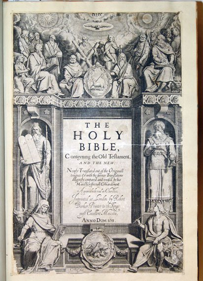 Illustrated title page of the Holy Bible