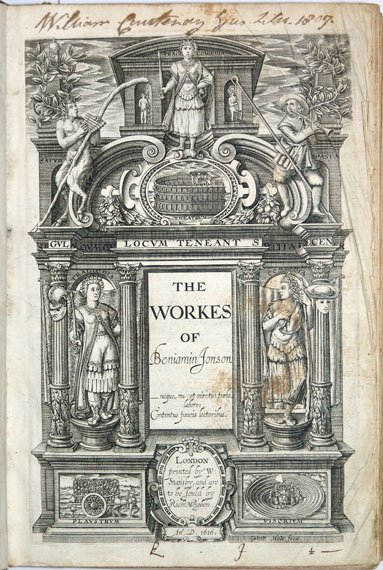Illustrated title page for The Works of Beniamin Jonson.