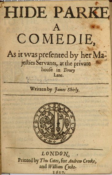 Title page for Hide Parke A Comedie