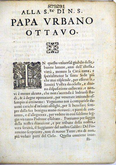 Opening page for Papa Urbano Ottavo