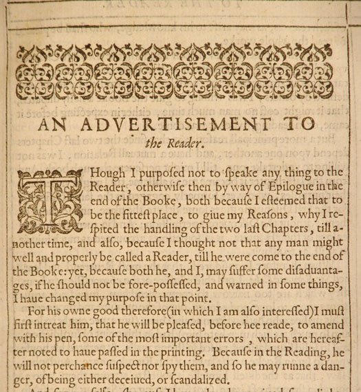 "Text titled ""An Advertisement to the Reader"""