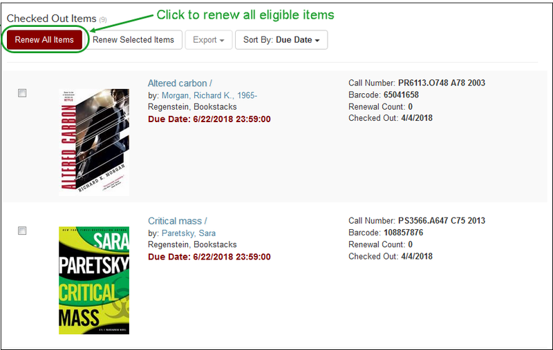 "Click ""Renew All Items"" to renew all eligible items."