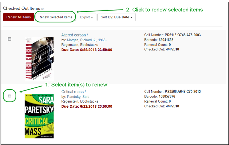 "Renew selected items by selecting checkbox and then clicking ""Renew Selected Items"""