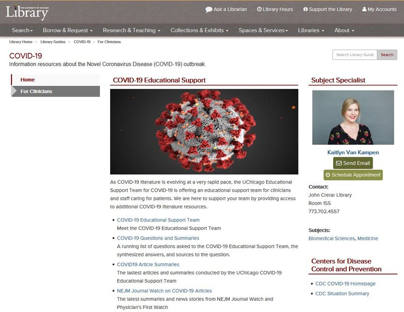 The Clinicians page of the COVID-19 Library Guide