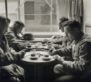 Photo of soldiers at café