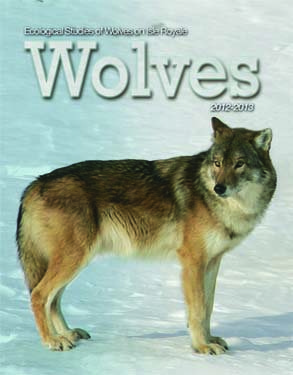 Front cover of a book with a picture of a wolf on a snowy tundra.