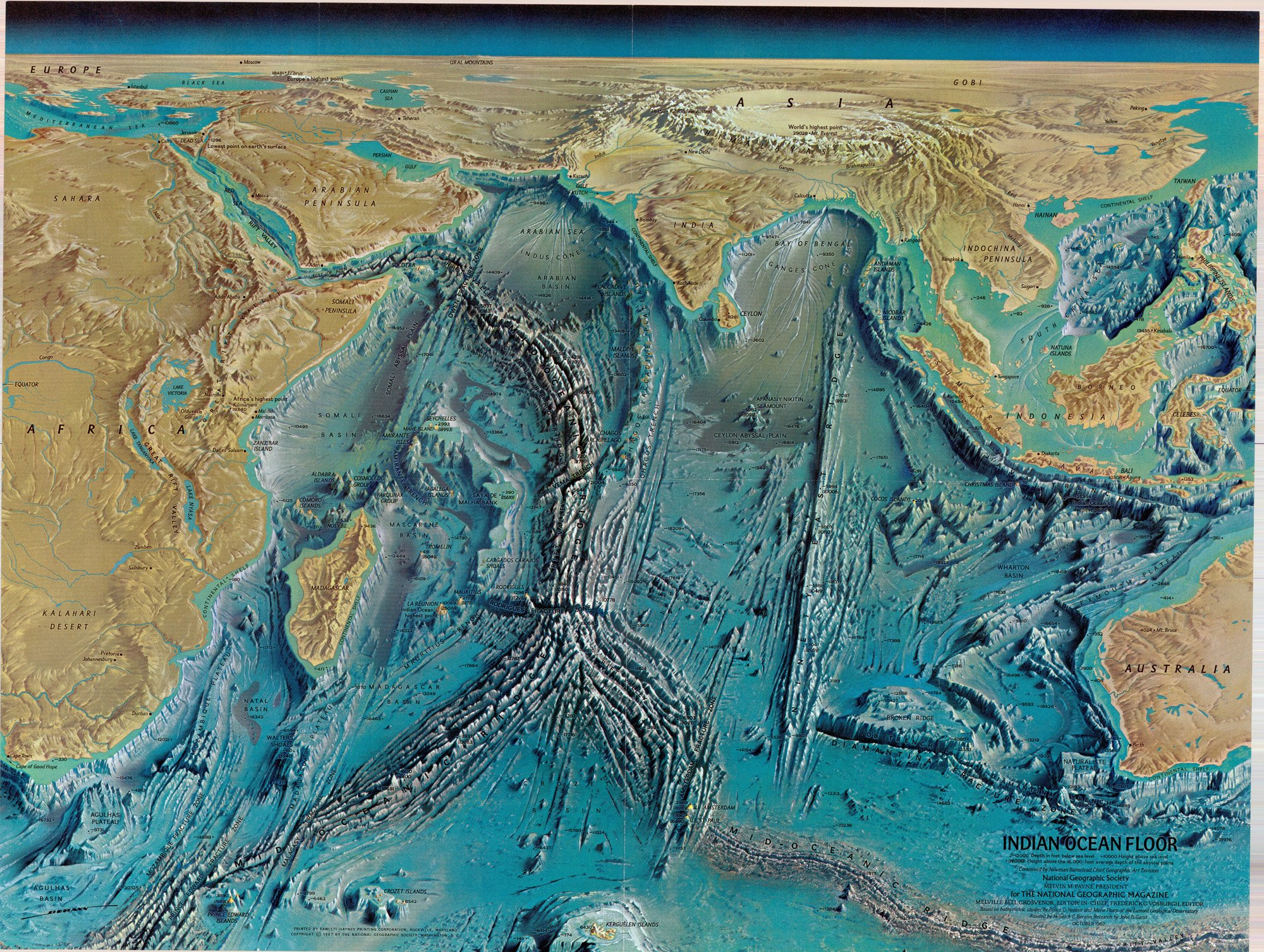 1967 Indian Ocean Map Marie Tharp The University Of Chicago