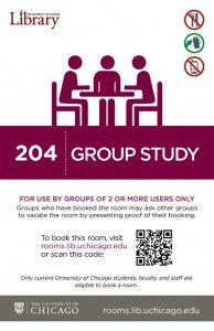 Group study sign for new room booking system.