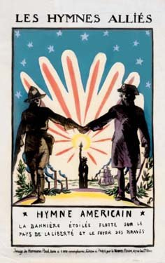 Two soldiers clasp hands in front of a blazing sun and the Statue of Liberty.