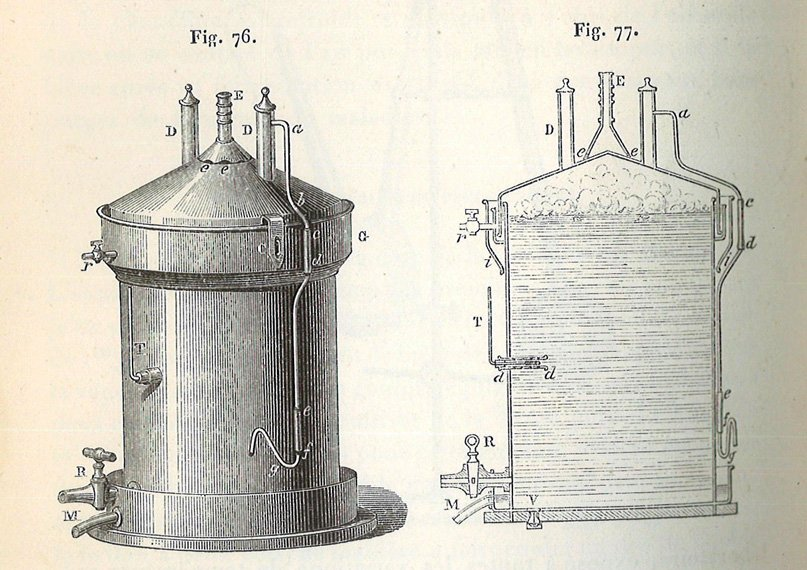 A drawing of a vat and its interior, labeled with letters.