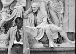 James Baldwin with Statues