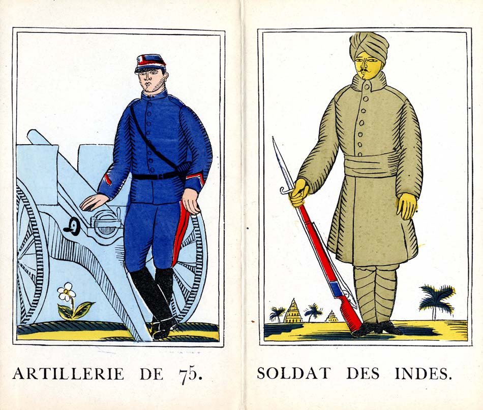 Pictures of two soldiers, one holding a gun and one next to a cannon.