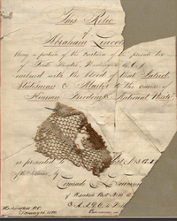 Lace curtain fragment and letter of authentication