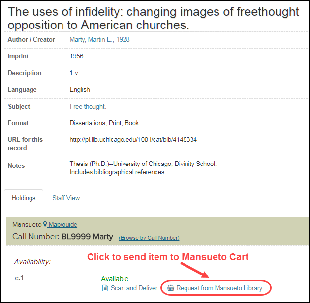 "Screenshot of full record, with ""Request from Mansueto"" link circled"
