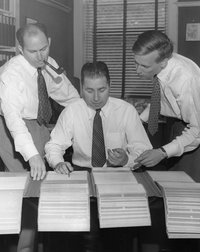 Mortimer Adler and assistants working on the Great Books Index